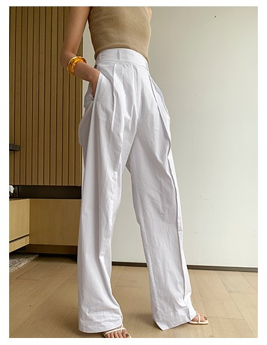 White/sandy brown belted cotton pants