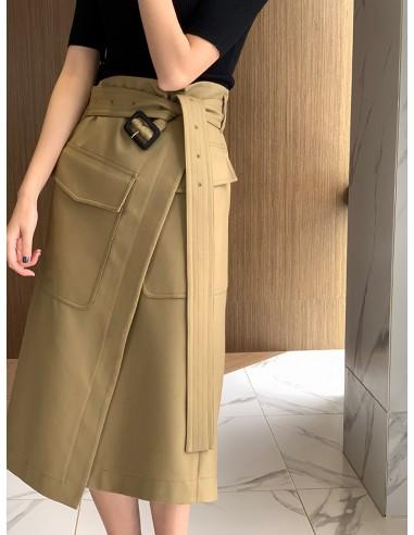 Belted kaki wrap skirt