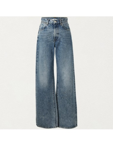 High-rise flared blue jeans