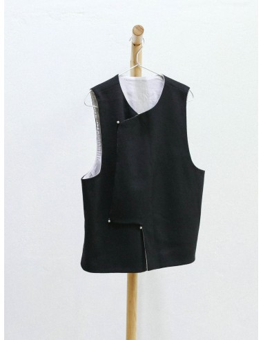 Modern oriental black wool vest