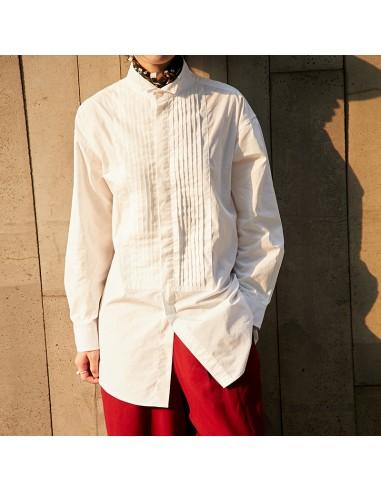 White cotton-poplin Shirt with pleats
