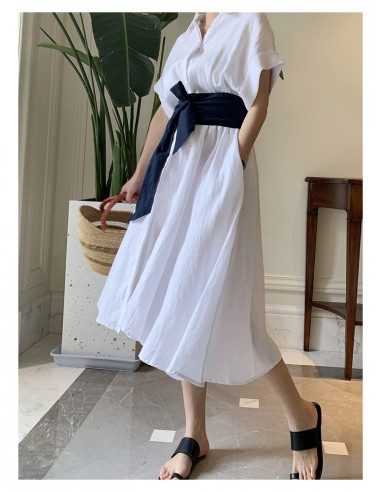 Linen shirt midi dress with belt