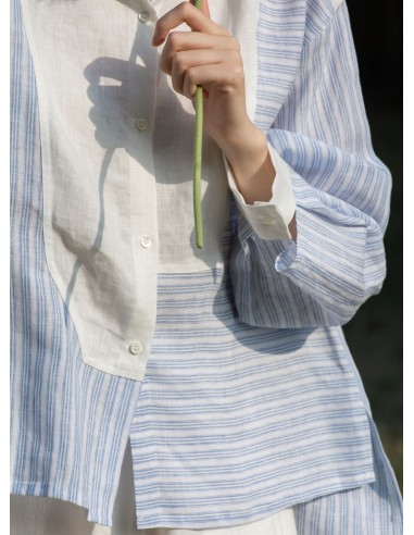 Paneled striped linen shirt