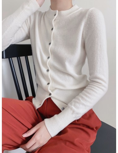 fitted crewneck cashmere cardigan