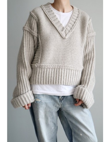 Cropped ribbed wool sweater